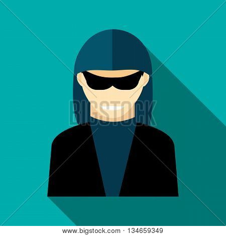 Hacker icon in flat style with long shadow. Attacker symbol
