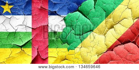 Central african republic flag with congo flag on a grunge cracke