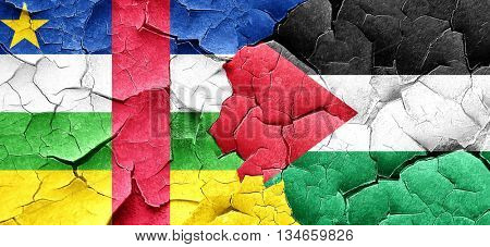Central african republic flag with Palestine flag on a grunge cr