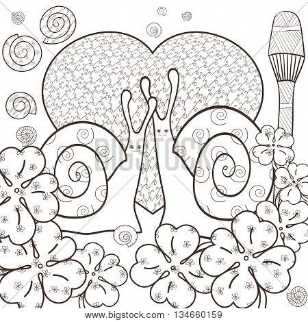 Cute snail adult coloring book page. Snails in whimsical forest with big heart and Magic mushroom. Shells and Clover leaves good luck sign. Line art vector illustration. Brown outline.