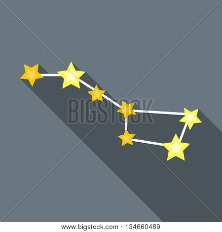 Zodiacal constellation icon in flat style with long shadow. Space symbol