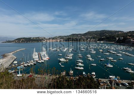 Lerici Italy - April 4 2016: view of port. Lerici is very famous for the old castle and rhe port