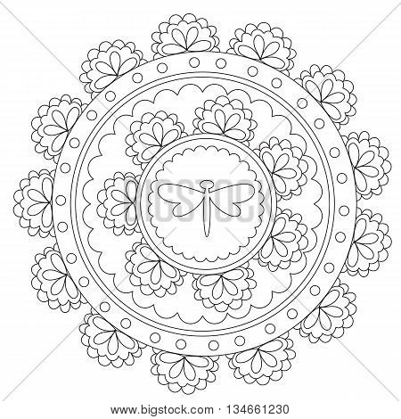 Vector outline geometric dragonfly mandala for coloring. Decoration round ornament