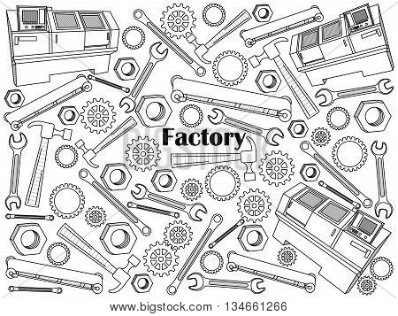 Factory design colorless set vector illustration. Coloring book. Black and white line art
