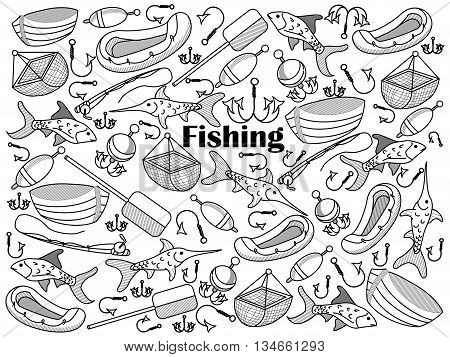 Fishing design colorless set vector illustration. Coloring book. Black and white line art