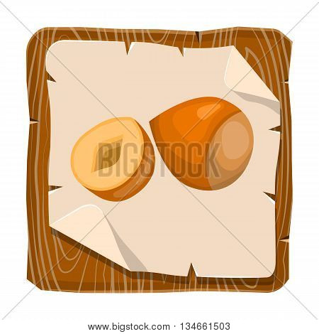 Hazelnut colorful icon. Vector illustration in cartoon style