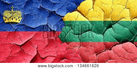 Liechtenstein flag with Lithuania flag on a grunge cracked wall