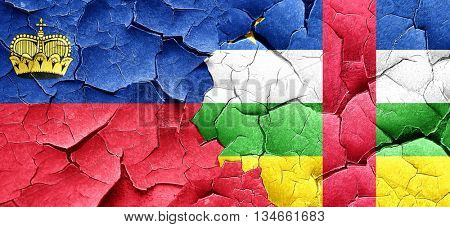 Liechtenstein flag with Central African Republic flag on a grung