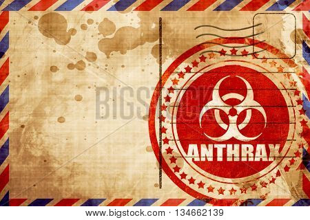 Anthrax virus concept background, red grunge stamp on an airmail