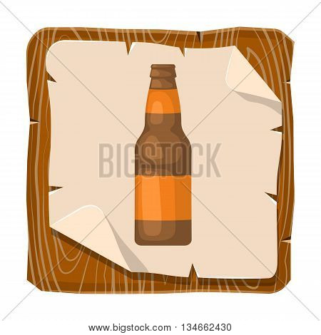 Beer bottle colorful icon. Vector illustration of bottle