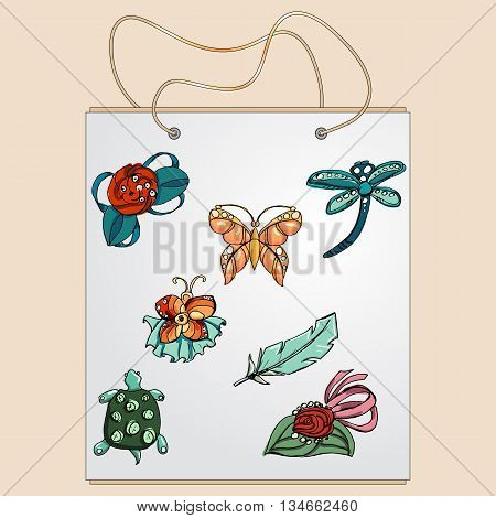 Shopping bag, gift bag with the image of fashionable things.Fashion set brooches.  Illustration in hand drawing style.