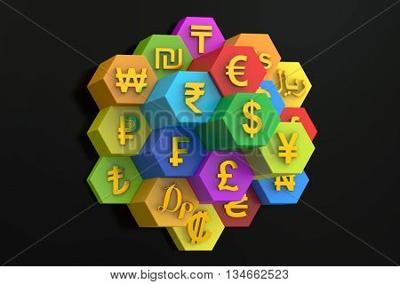 Currency concept 3D rendering on black background