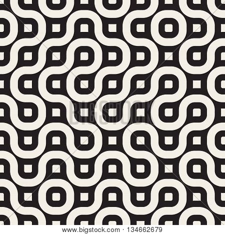 Vector Seamless Black And White Geometric Rounded Irregular Lines Pattern