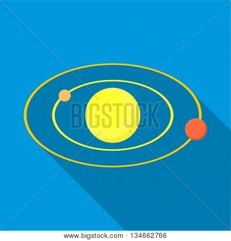 Solar system icon in flat style with long shadow. Space symbol
