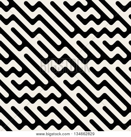 Vector Seamless Black And White Hand Drawn Diagonal Zigzag Lines Irregular Pattern