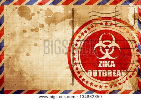 Zika virus concept background, red grunge stamp on an airmail ba