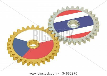 Czech Republic and Thailand flags on a gears 3D rendering isolated on white background