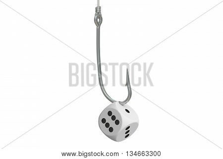 Gambling Addiction concept fishing hooks with dice. 3D rendering
