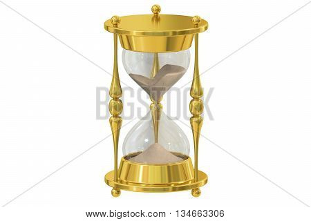 Hourglass 3D rendering isolated on white background