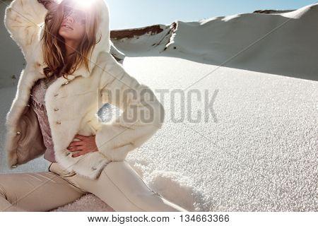 Winter Girl In Luxury Fur Coat. Fashion Fur. Landscape