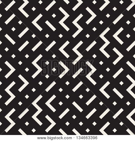 Vector Seamless Black and White Irregular ZigZag Rhombus Geometric Pattern. Abstract Geometric Background
