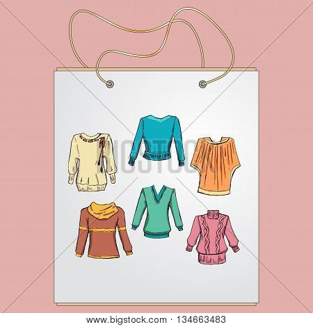 Shopping bag, gift bag with the image of fashionable things.Fashion set. Different sweaters, jackets. illustration in hand drawing style.