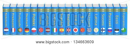 Row of Languages Books 3D rendering isolated on white background