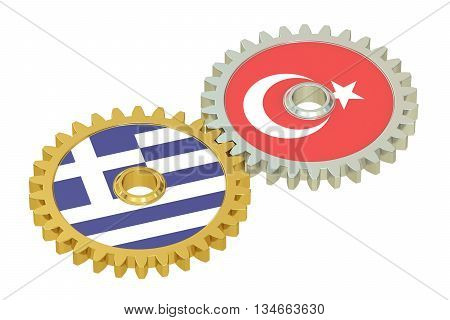 Turkey and Greece flags on a gears 3D rendering isolated on white background
