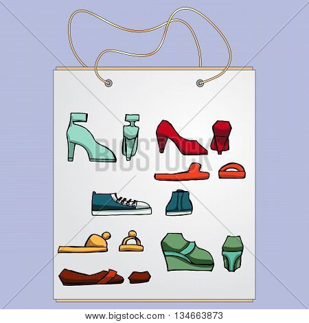 Shopping bag, gift bag with the image of fashionable things.Fashion set. Different shoes. illustration in hand drawing style.