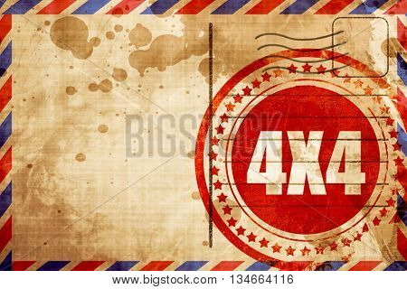 4x4, red grunge stamp on an airmail background