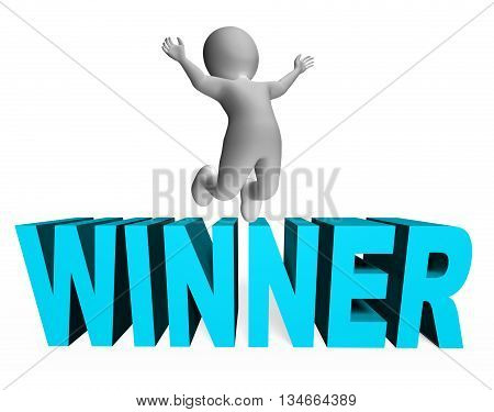 Winner Character Indicates Jumping Success And Successful 3D Rendering