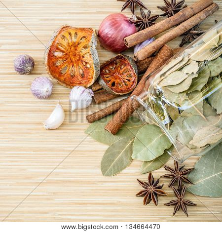 Assortment Of  Thai Food Cooking Ingredients Spice Taste In The Glass Bottle. Healthy And Delicious
