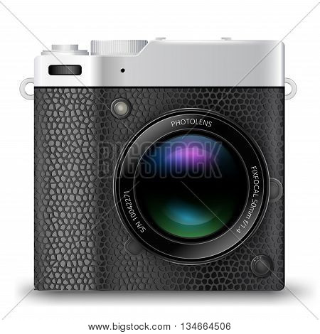 Vector detailed retro style mirrorless camera icon with black leather isolated on white background