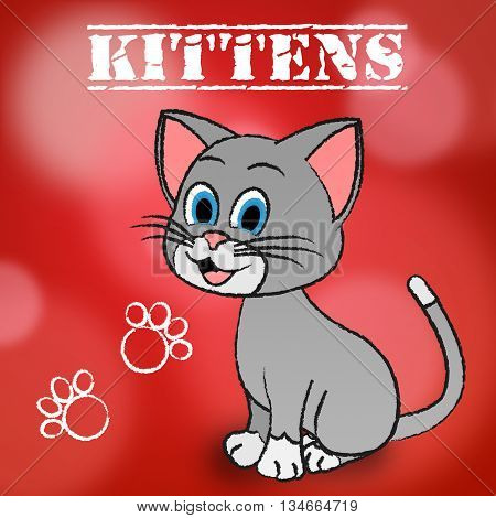 Kittens Word Indicates Domestic Cat And Cats