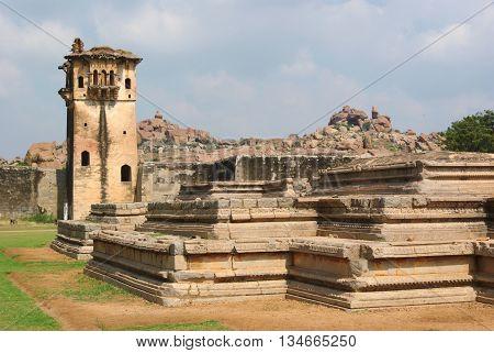 The UNESCO wolrd heritage site at Hampi, Karnataka, India