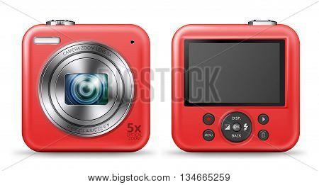 Vector detailed easy bright red colored point and shoot camera icons with front lens and back screen with buttons sides