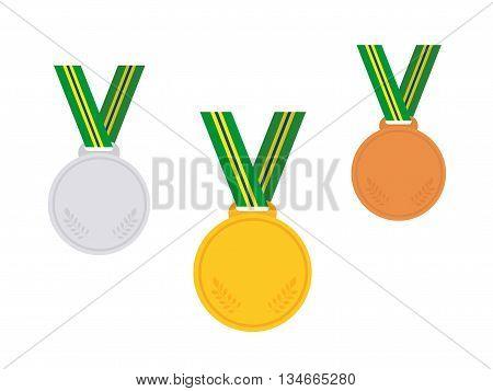 Set Of Winner Medals. Brazil. Vector Illustration.