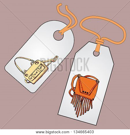 Label, badge, price tag with the image of fashionable things.Fashion set. Various bags. illustration in hand drawing style.