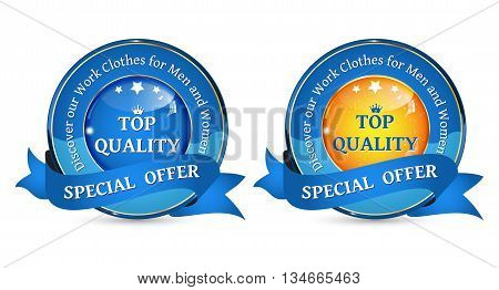 Work clothes for men and women - business stamps. Special Offer - shop with Work Clothes For Men and Women - set of two business labels / ribbons.