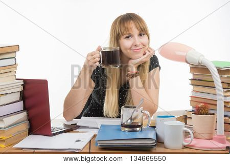Student Drinking Another Cup Of Coffee By Preparing For The Exam At Night