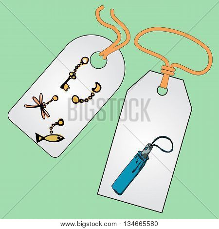 Label, badge, price tag with the image of fashionable things.Fashion set. Various accessories, the contents of handbag or pocket. Illustration in hand drawing style.