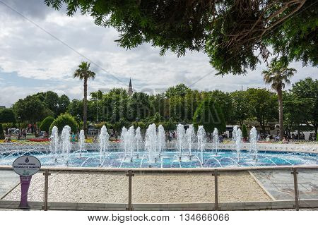 ISTANBUL TURKEY - JUNE 19 2015: A fountain in the historical center of Istanbul Turkey
