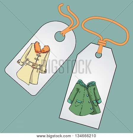Label, badge, price tag with the image of fashionable things.Fashion set. Various jackets and overcoats. Illustration in hand drawing style.