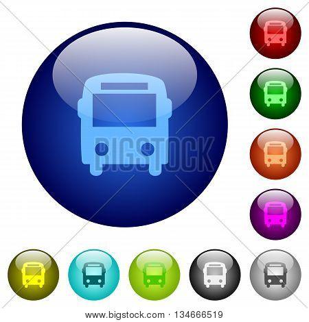 Set of color bus glass web buttons.