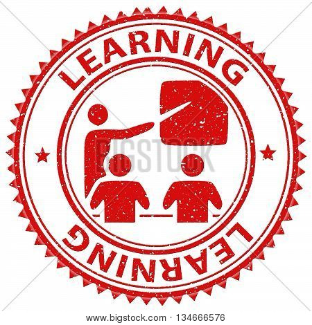 Learning Stamp Indicates School Studying And Educated