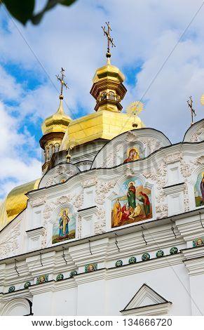 Kiev-Pechersk Lavra Orthodox monastery facade's fragment of the Assumption Church (Uspenskiy) Kiev. Ukraine