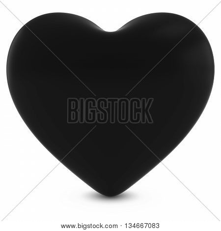 Black Mourning Heart Shape Isolated On White - 3D Illustration