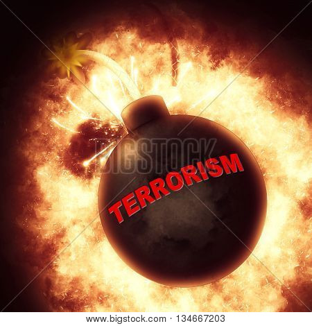Terrorism Bomb Represents Freedom Fighters And Blast