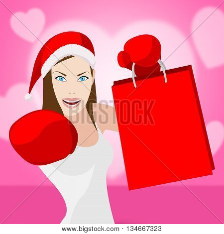 Woman Christmas Shopping Represents Retail Sales And Store