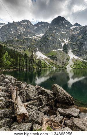 High Mountain Summit Reflect In Alpine Lake